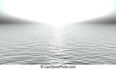zoals, heaven., licht, oceaan, weerspiegelen, witte