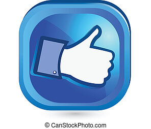zoals, knoop, informatietechnologie, op, facebook, duim