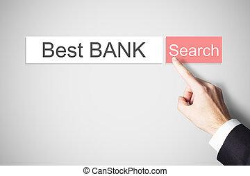 zoeken, businessmans, knoop het duwen, best, webbrowser, vinger, bank