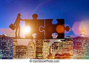zoekplaatje, concept, teamwork, zakelijk