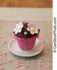 zoet, bloemen, muffin