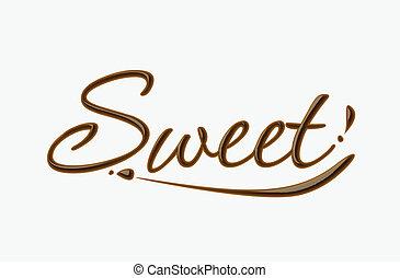 zoet, chocolade, tekst