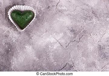 zoet, groene, plek, hart, tekst