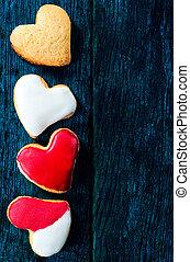 zoet, koekjes, hart
