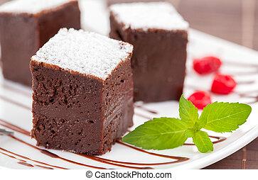 zoet, of, cakes, chocolade, zich verbeelden, brownies