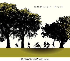 zomer, betoverend, park, scène, tijd