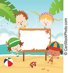 zomer, boodschap, kids'