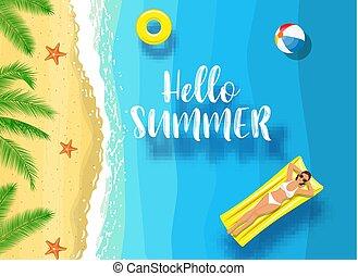 zomer, boodschap, marinier, hallo, achtergrond.