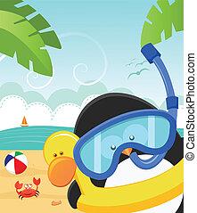 zomer, boodschap, penguin's
