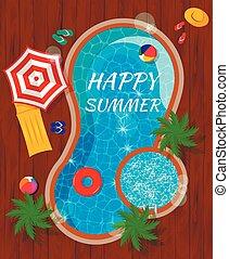 zomer, bovenzijde, samenstelling, pool, aanzicht