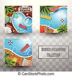 zomer, bovenzijde, verzamelingen, achtergrond, aanzicht, pool, zwemmen