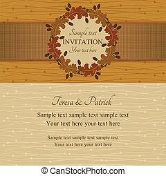 zomer, bruine , herfst, beige, uitnodiging, of