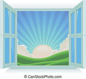 zomer, buiten, venster, landscape