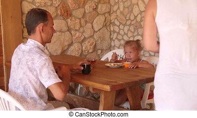 zomer, diner, buiten, gezin, keuken