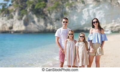 zomer, familie vakantie, gedurende, strand, vrolijke