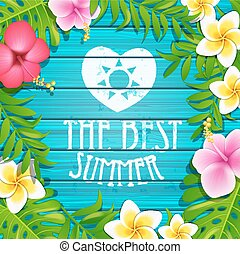 zomer, frame, flowers.