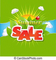 zomer, gescheurd, verkoop, papier, groene, randjes, spandoek