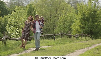 zomer, gezin, wandeling