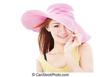 zomer, glimlachende vrouw, vrijstaand, witte