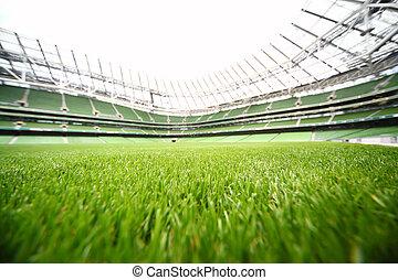 zomer, gras, stadion, green-cut, ondiepe focus, groot, diepte, akker, dag, voetbal