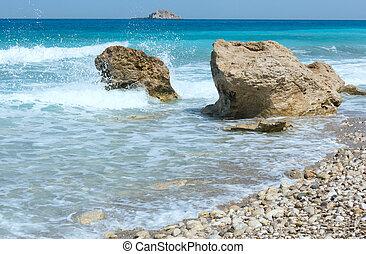 zomer, (greece), lefkada, strand, kust