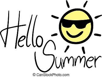 zomer, hallo, aardig, boodschap