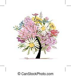 zomer, hart, bouquetten, vorm, ontwerp, floral, jouw