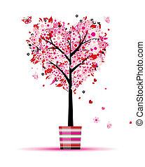 zomer, hart, pot, boompje, vorm, ontwerp, floral, jouw