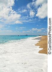 zomer, hemel, bewolkt, golf, wit strand