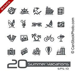 zomer, //, iconen, vakanties, grondbeginselen