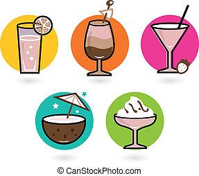 zomer, kleurrijke, vrijstaand, retro, witte , dranken