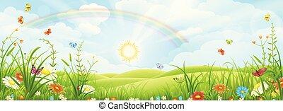 zomer, landscape, regenboog