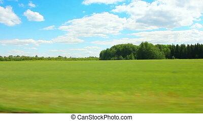 zomer, langs, groene, geleider, akker