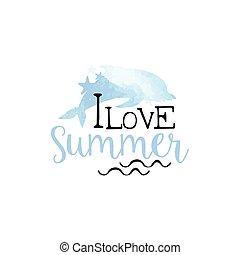 zomer liefde, watercolor, etiket, stylized, boodschap
