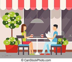 zomer, paar, terras, buitenshuis, tafel, koffiehuis