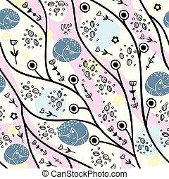 zomer, plant, achtergrondmodel, abstract, seamless, cats., scandinavische, stylized, ontwerp, vector., bloemen, style.