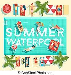 zomer, plat, poster, feestdagen, pool, zwemmen