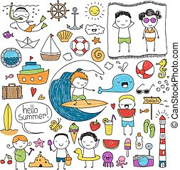 zomer, set, doodle