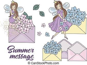 zomer, set, elfje, illustratie, spotprent, vector, boodschap, prinsesje
