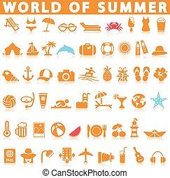 zomer, set, pictogram