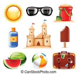 zomer, strand, verwant, iconen