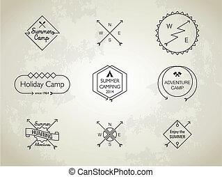 zomer, themed, kamp, dune lijn, kentekens