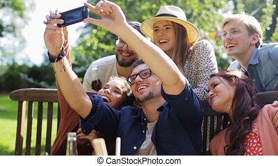 zomer, tuin, selfie, feestje, vrienden, boeiend