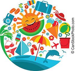 zomer, vacation;, mal, iconen