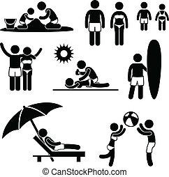 zomer vakantie, strand, gezin, vrije tijd