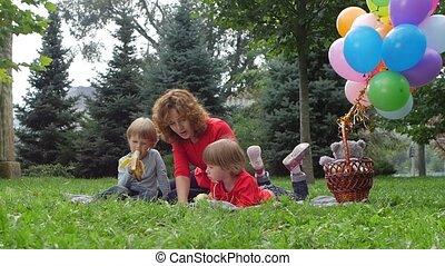 zomer, vertragen, picknick, gezin, motie, park, hebben
