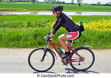 zomer, vrouw, fiets, berg