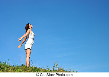 zomer, vrouw, vrijheid, omringde, kleuren, gevoel