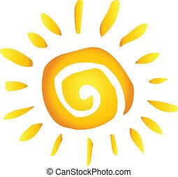 zomer, warme, abstract, zon