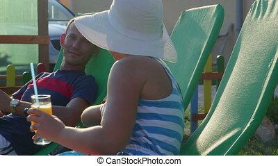 zomer, werf, relaxen, gezin, uitgeven, jonge, back, kind, weekend